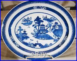 Antique Chinese Export Porcelain Blue & White Nanking Platter Meat Dish