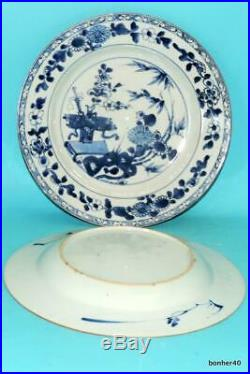 Antique Chinese Export Porcelain Blue White Under Glaze Kangxi Plates No Resere