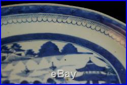 Antique Chinese Export Ware Canton Nanking Blue & White Platter Charger 19th C