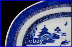 Antique Chinese Export blue&white Porcelain Qianlong period 18th c Oval plate #2