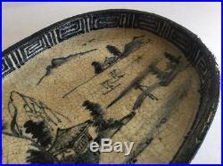 Antique Chinese Japanese Footed Porcelain Blue & White Glazed Tray Dish