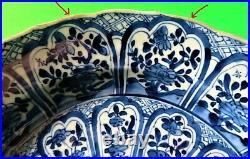 Antique Chinese Kangxi Lotus Pattern Blue/White Charger Plate 11.5 KangxiPeriod