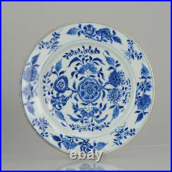 Antique Chinese Kangxi Plate Cobalt Blue White Flowers China Porcelain