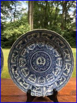 Antique Chinese Kangxi porcelain Dish Qing Dynasty Blue and White Lotus Dish