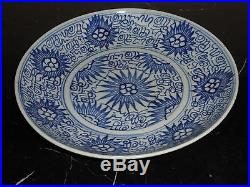 Antique Chinese Late Qing Dynasty Blue And White Porcelain Plate 10