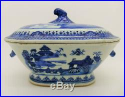 Antique Chinese Porcelain Qianlong Export Blue & White Small Tureen 18th Century