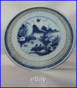 Antique Chinese Porcelain Reticulated Blue and White Dish