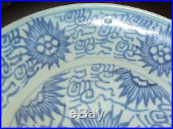 Antique Chinese Qing Dynasty Blue, White Porcelain Bowl/ Plate 3 Characters Sign