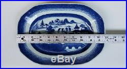 Antique Chinese Qing Dynasty Export Canton Blue and White Porcelain Platter