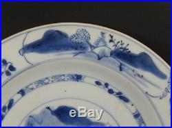 Antique Chinese Qing Dynasty Plate Taoist Sage Hermit Gazing at Mountains C 1750
