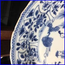 Antique Chinese Underglaze Blue White Porcelain Plate Qing Kangxi Period 18th C
