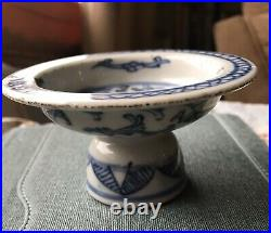 Antique Chinese Yuan style Blue and White Porcelain High foot small plate