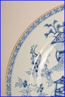 Antique Chinese blue & white porcelain charger ceramic China 18th c Qing plate