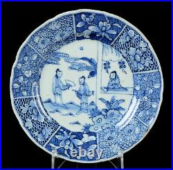 Antique Chinese blue&white porcelain plate Kangxi Romance of the Western Chamber