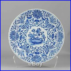Antique Chinese ca 1700 Kangxi Cobalt Blue White Charger Plate 35.5cm Qing China