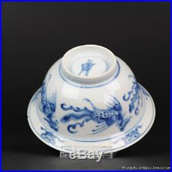 Antique Chinese ca 1700 Kangxi Klapmuts Fenghuang Blue White Dish Rare Incens