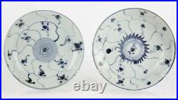 Antique Chinese porcelain plates blue and white 19th century two plates signed