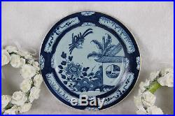 Antique DELFT blue white pottery 18thc plate birds decor rare