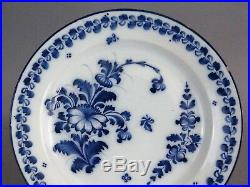 Antique Delft Floral Plate, Hand Painted, Blue & White