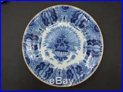 Antique Dutch Delft Blue & White Peacock Charger Plate Holland Vintage 1900's
