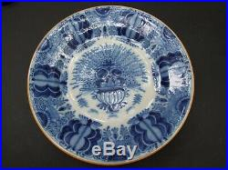 Antique Dutch Delft Blue & White Peacock Charger Plate Holland Vintage 1900's