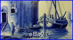 Antique Dutch Delft Hand Painted Blue White Charger Wall Plate Sail Boats MILL