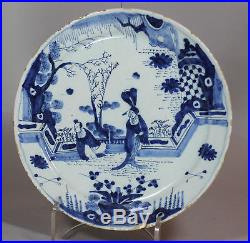 Antique Dutch Delft blue and white plate, 18th Century