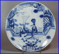 Antique Dutch Delft blue and white plate, 18th Century