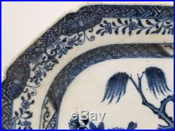 Antique Early Canton Underglaze Blue and White Export Tray Repaired Damaged