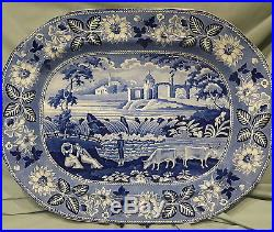 Antique English Blue & White Transferware Meat Plate/Platter Falls of Killarney
