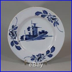 Antique English Delft blue and white plate, circa 1760
