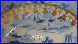 Antique Europian Transferware Blue & White 24k Gold Chinoiserie Bowl Plate