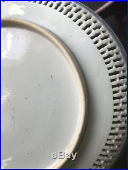 Antique Export China Porcelain Blue And White high quality Reticulate Plate