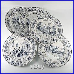 Antique French 6pc Plates Commemorating The Revolution, Blue & White, Luneville