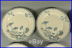 Antique French Blue White GIEN Transferware Ironstone Aesthetic Floral Plate Set