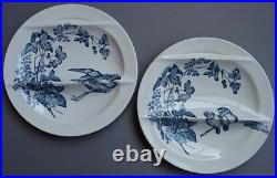Antique French Pottery Asparagus Plates Longwy 1890 Aesthetic Blue Transferware