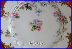 Antique HAVILAND LIMOGES plate Pink AND Blue ROSES With Hand ENAMEL & Heavy GOLD