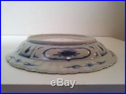 Antique Hand Painted Chinese Blue & White Porcelain Plate