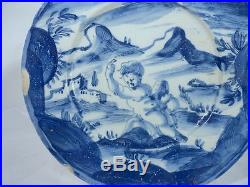 Antique Italian Maiolica Majolica Savona Plate Blue and White Signed Repaired As