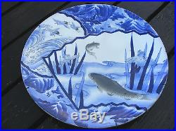 Antique Japanese Arita Blue & White Charger Koi Carp Fish Signed 18