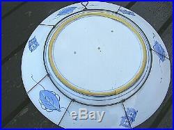 Antique Japanese Arita Blue & White Charger Koi Carp Fish Signed 18