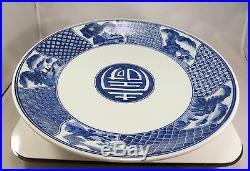 Antique Japanese Arita Imari Porcelain Bowl Charger Blue & White Sometsuke Japan