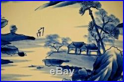 Antique Japanese Imari Blue White Landscape Porcelain Charger Plate 12
