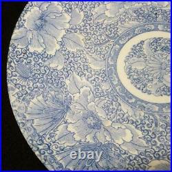 Antique Japanese Ko-Imari Large Platter (Blue White Japanese Peony & Butterfly)
