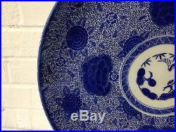 Antique Japanese Likely Meiji Period Blue & White Porcelain Charger Floral Dec