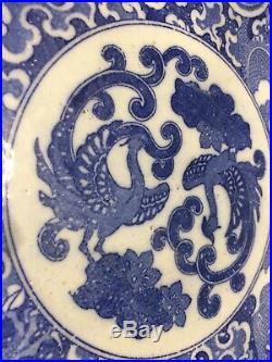 Antique Japanese Porcelain Blue& White Dragons & Phoenix Charger