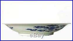 Antique Japanese Porcelain Hirado Blue And White Seto Koi Carp Pond Plate