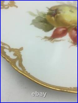 Antique KPM Art Nouveau Fruit Plate Blue Sceptre Red Orb Gold Trim #1