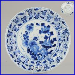 Antique Kangxi 18C Blue white Dish Animals Floral Qing Chinese Porcelain
