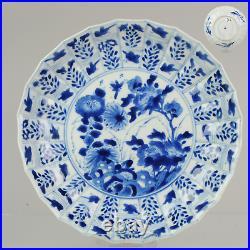 Antique Kangxi 18C Blue white Dish Flowers Animals Qing Chinese Porcelai